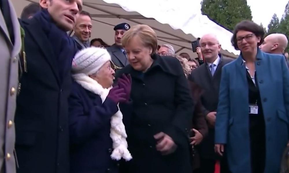 Yaşlı kadın Merkel'i Macron'un eşi sandı, ilginç görüntüler ortaya çıktı