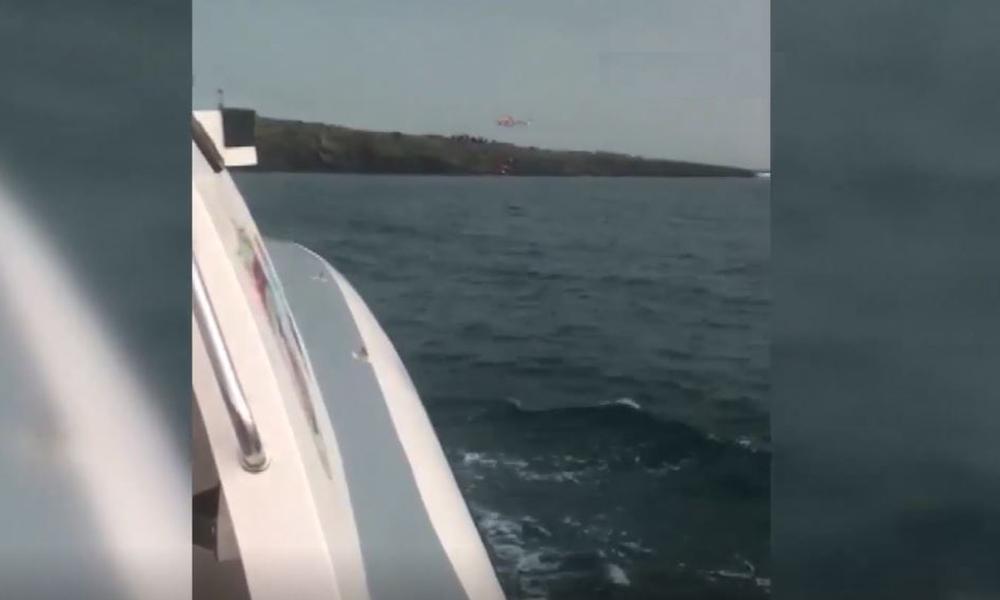 Ege Denizi'nde kurtarma operasyonu böyle görüntülendi