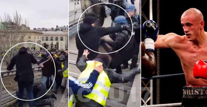 Sarı Yelekliler fırtınası devam ediyor: Yumrukla polisleri uzaklaştırdı!
