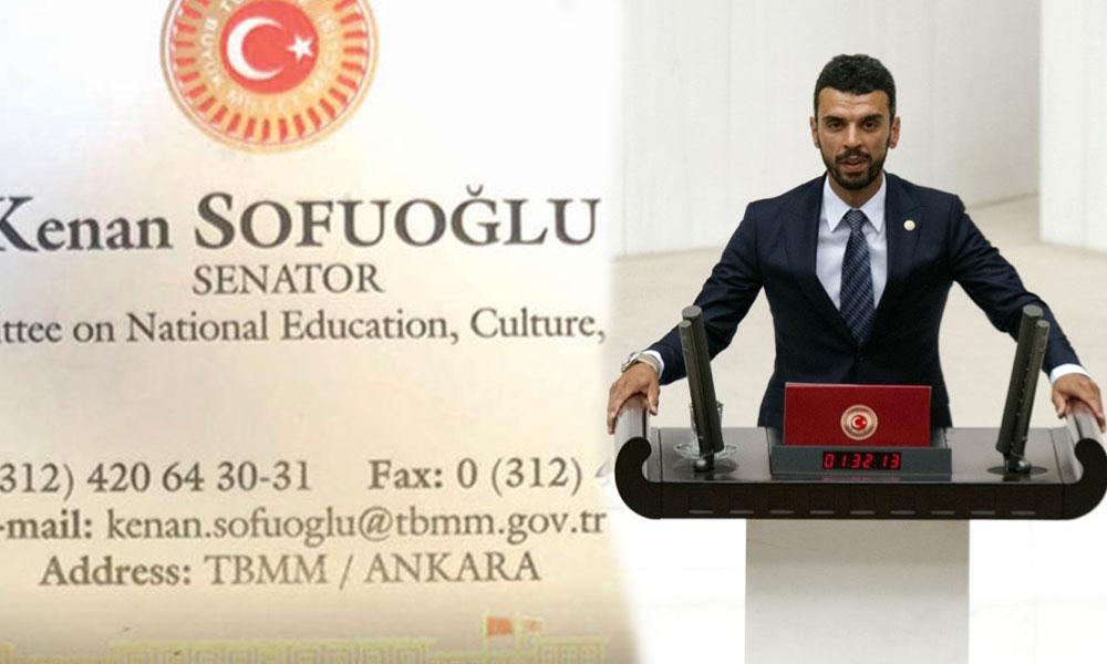 AKP'li Kenan Sofuoğlu'nun 'senatör' kartvizitine inceleme