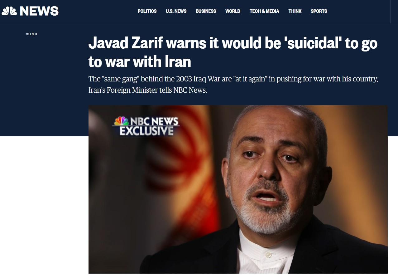 İran Dışişleri Bakanı Zarif: İran'a karşı savaş intihar olur