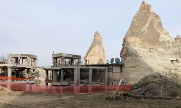 Peribacaları'nda yapılan otel inşaatı durduruldu