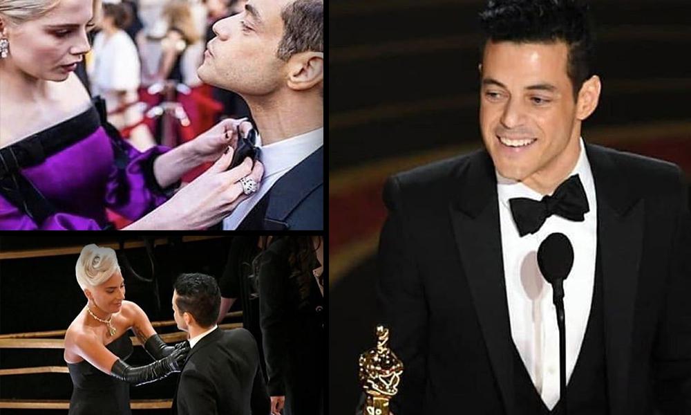 Papyonunu düzelten düzeltene: Oscar alan Rami Malek salonu kahkahaya boğdu