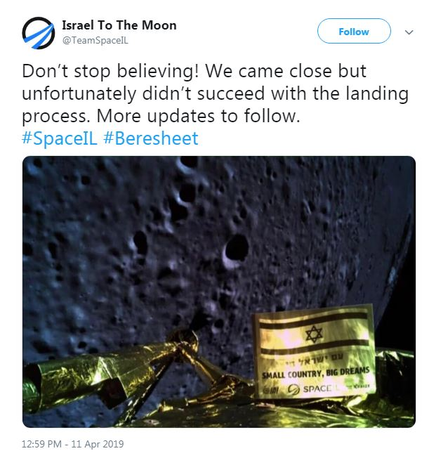 İsrail'in uzay aracıBeresheet'in Ay'a inişi başarısız oldu