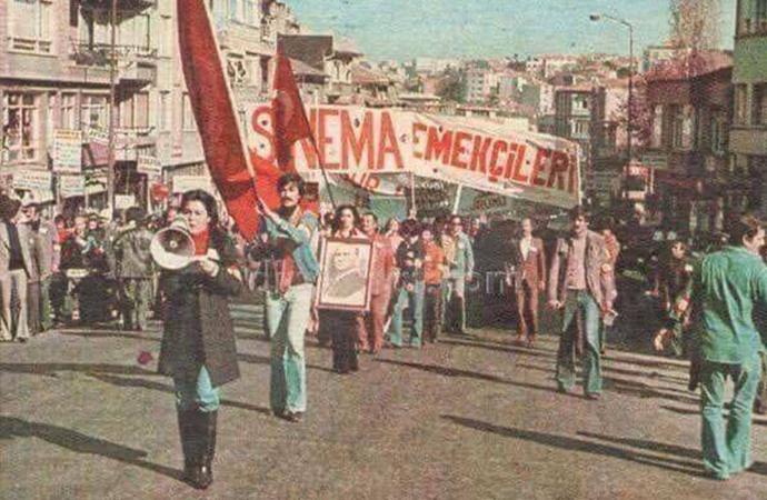1 Mayıs 1978 yıldızlar geçidi: Fatma Girik, Kadir İnanır, Tarık Akan, Cüneyt Arkın ve Kemal Sunal