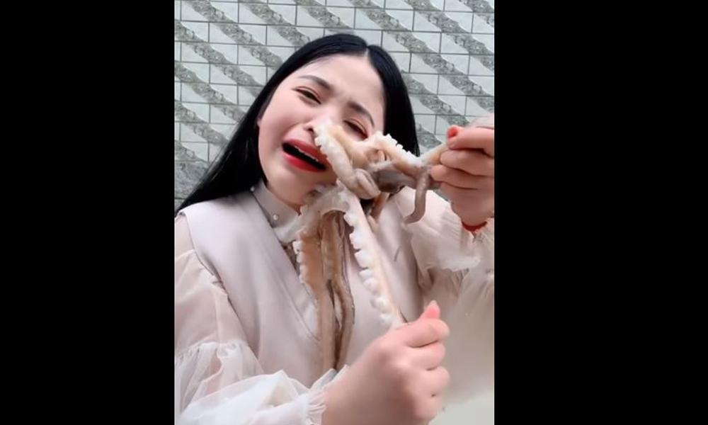 Ahtapot onu yemeye çalışan kızın suratına yapıştı! İşte o anlar