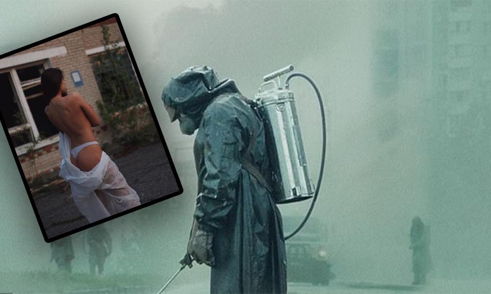 Çernobil'de g-stringli poza büyük tepki: Biraz saygı gösterin!