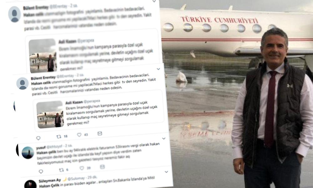 Gazeteci Hakan Çelik'in devlet uçağıyla maç keyfine tepki yağdı: Yiyin daha çok yiyin