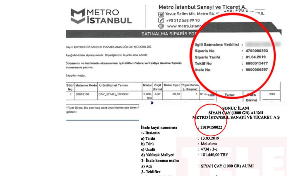 '1 Kilo çay için 181 bin lira' ihale yapan Metro A.Ş.'nin açıkladığı belgelerdeki ihale numarası farklı