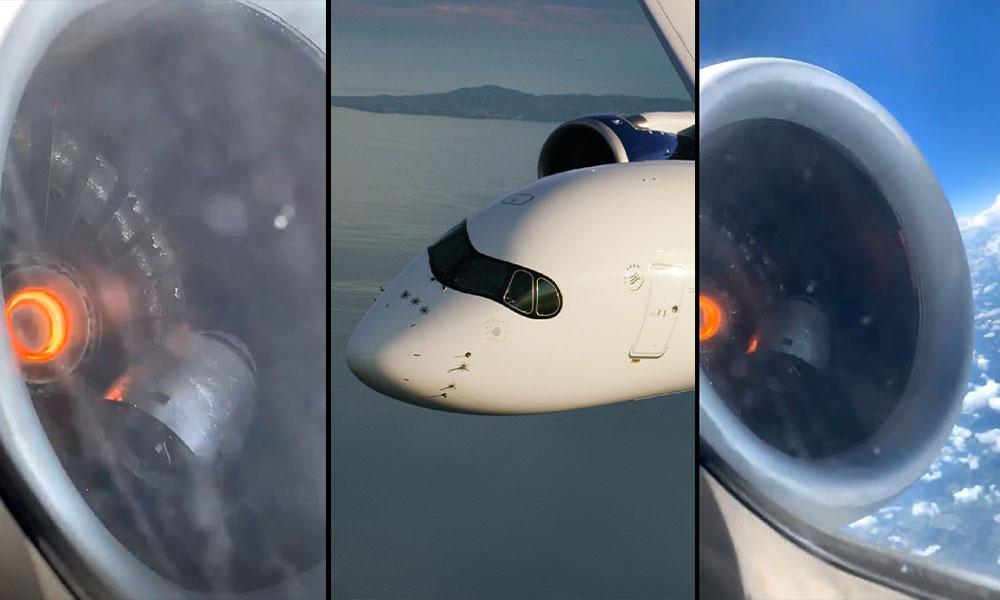 Havada korku dolu anlar! Yolcu motor arızasını saniye saniye görüntüledi