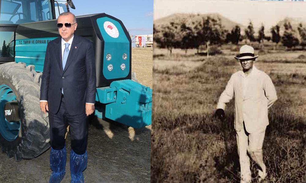 Erdoğan'ın tarladaki 'galoşlu pozu' tepki çekti! 'İki fotoğraf arasındaki fark…'