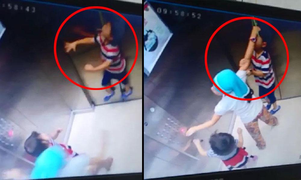 Boynundaki iple asansöre sıkışan kardeşini son anda böyle kurtardı