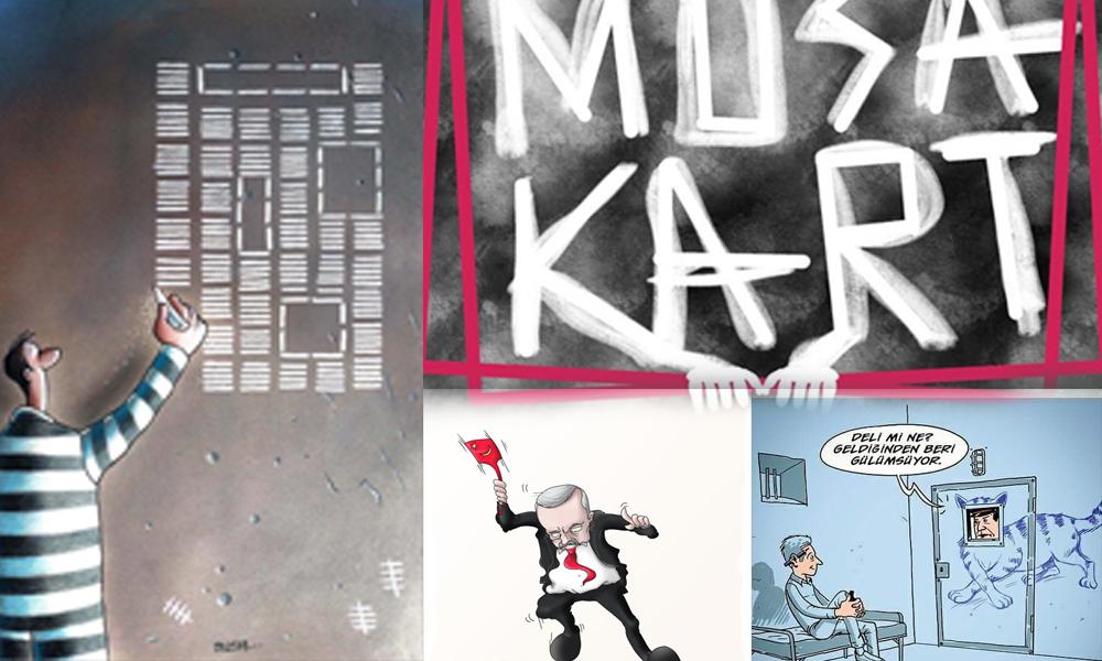 Karikatüristler Musa Kart ve hapisteki gazetecilere destek için çizdi