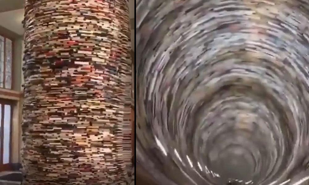 Prag belediye kütüphanesinde bulunan sonsuz kitap tüneli!