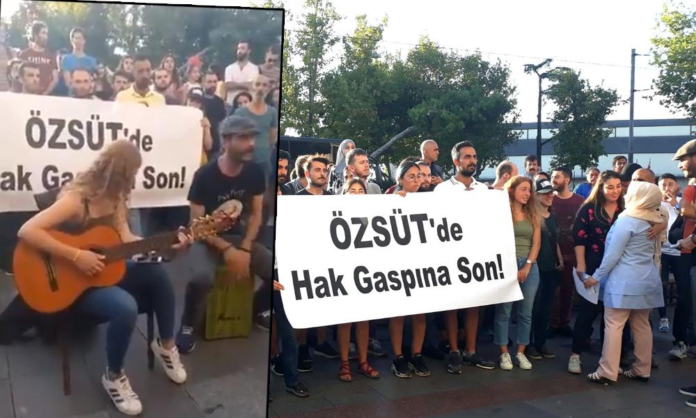 Maaşlarını alamayan Özsüt işçilerinden Kadıköy'de gösteri!