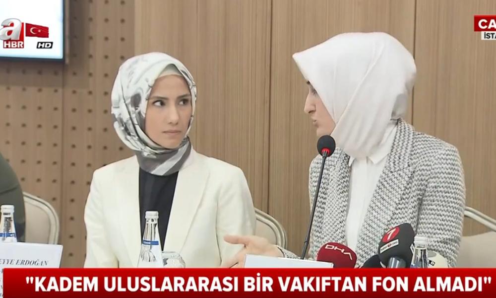 AKP'lilerin hedefindeki Sümeyye Erdoğan, KADEM'e basın toplantısı düzenlettirdi