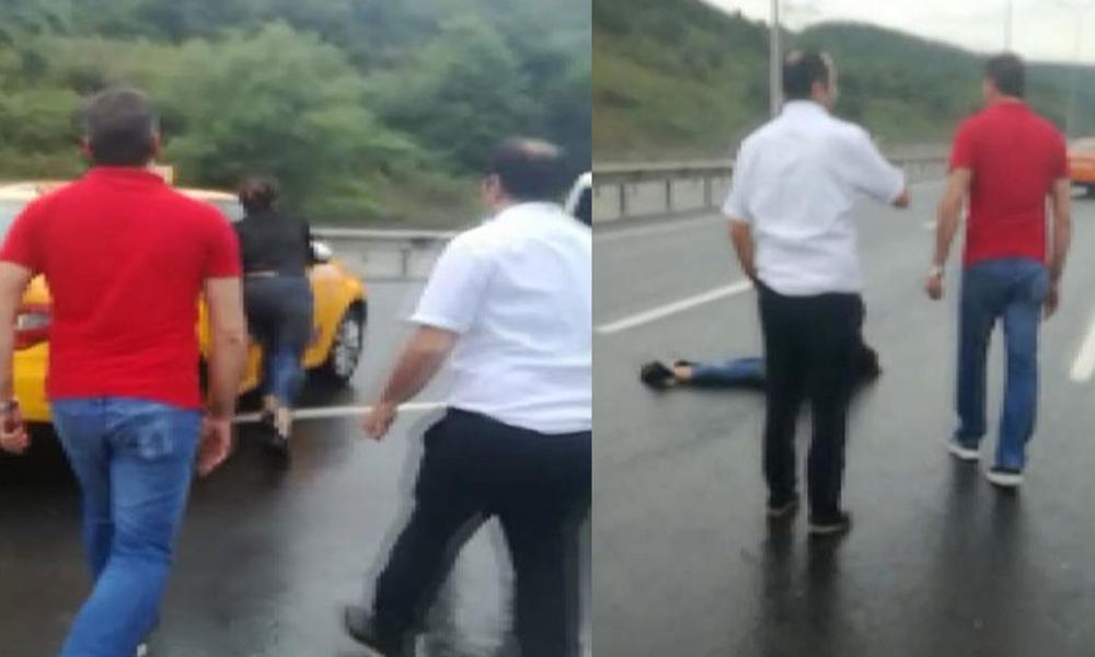 Sevgilisini aracıyla sürükleyen taksici gözaltına alındı! O anlar kameraya böyle yansıdı…
