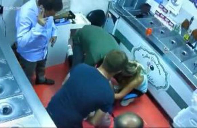 Dondurma alırken dondurmacının hayatını kurtardı