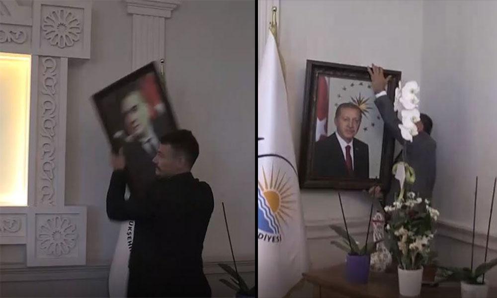 Kayyum'ın ilk işi Atatürk'ün yerine Erdoğan'ın portresini asmak oldu