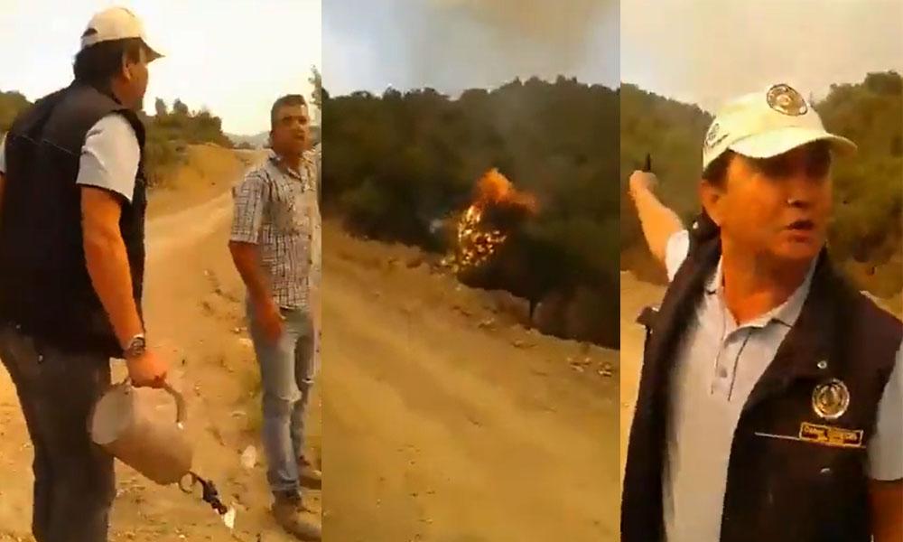 Elinde alev makinesiyle görüntülendi! 'Ağaçları Orman Bakanlığı görevlisi tutuşturdu' iddiası