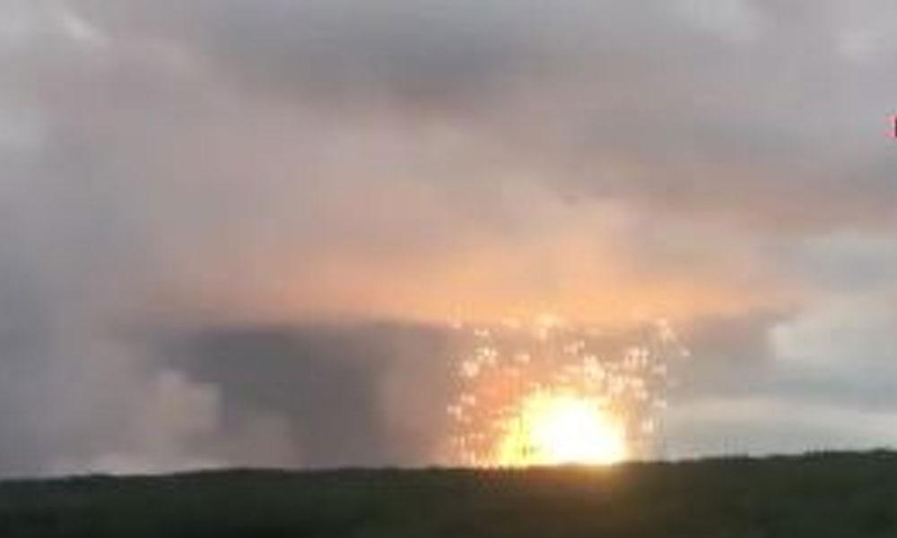 Rusya'da cephanelik patladı, o anlar kamerada…