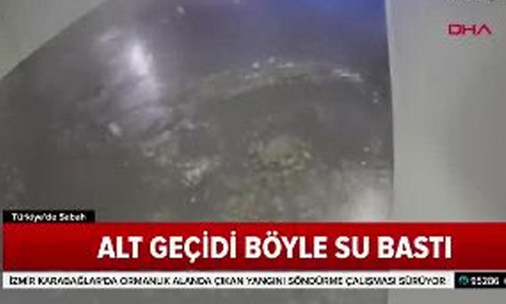 Eminönü'ndeki sel baskını güvenlik kamerasında