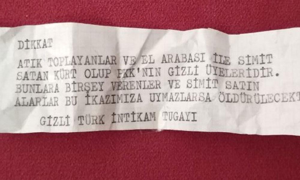 İzmir'de evlere 'Türk İntikam Tugayı' imzalı tehdit mesajları bırakıldı