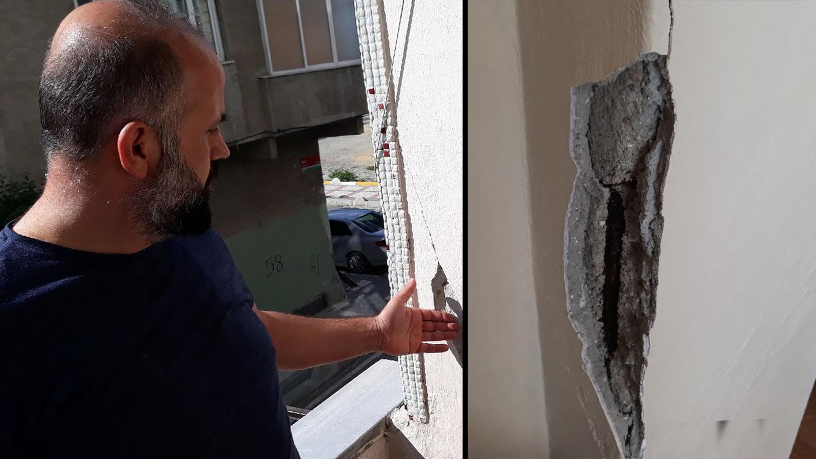 Deprem sonrası Bağcılar'da bir binanın kolonları çatladı: '10-15 kez aradık, hâlâ gelen yok'