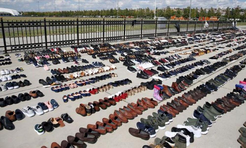 İstanbul'daki selde ıslanan ayakkabılar satışa çıktı