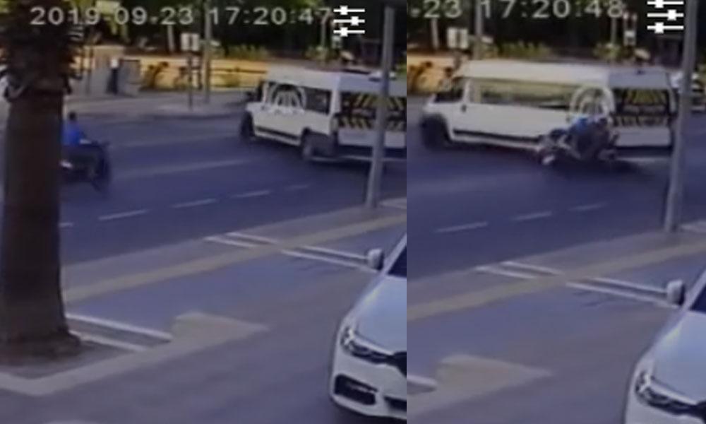 Kasksız motorcunun ölümden dönüşü güvenlik kamerasında