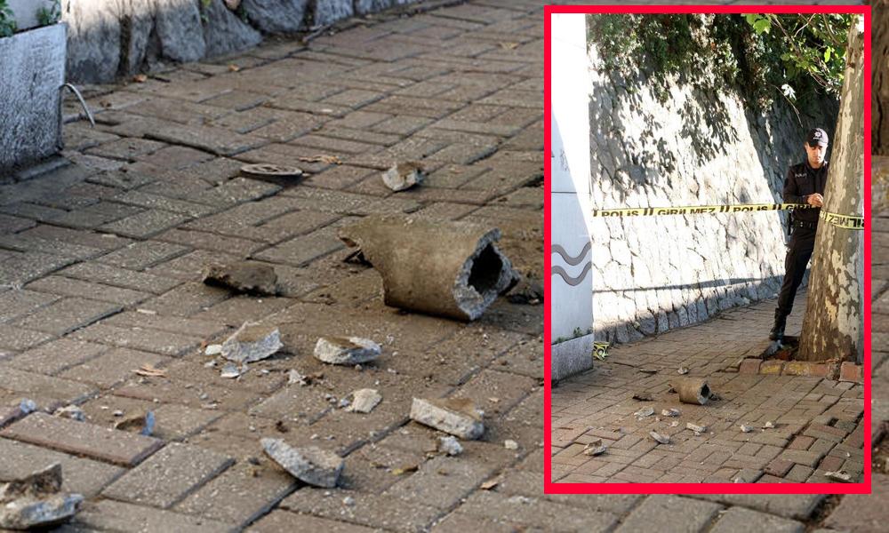 Kaldırımda yürürken üzerine beton parçası düştü