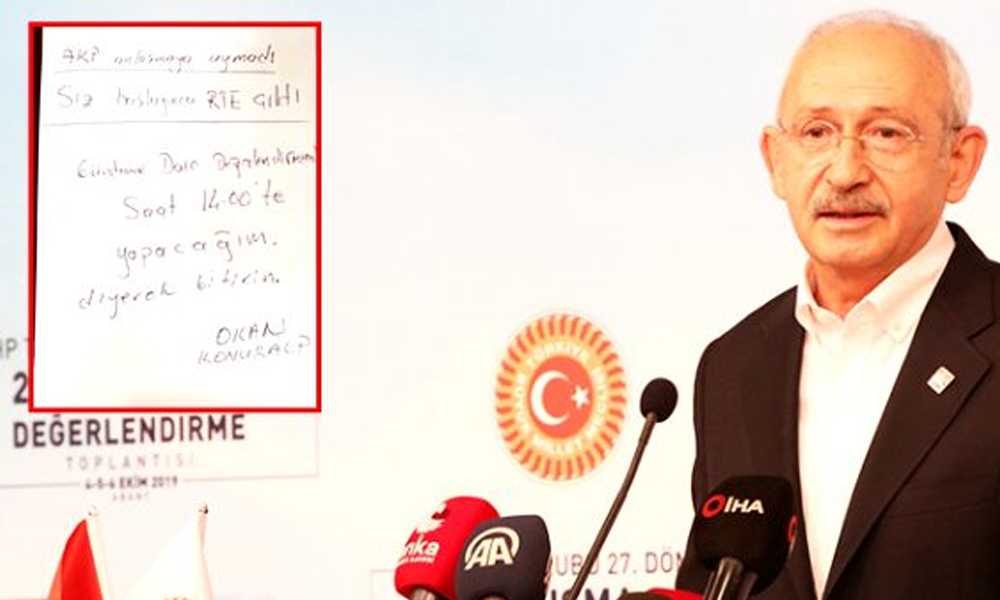 İşte Kılıçdaroğlu'na konuşmasını yarıda kestiren o not! Medyaya sızdı…