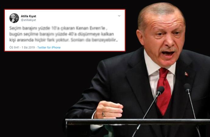 Emekli Koramiral Atilla Kıyat'ın, 'Kenan Evren' göndermeli mesajına Erdoğan'dan suç duyurusu
