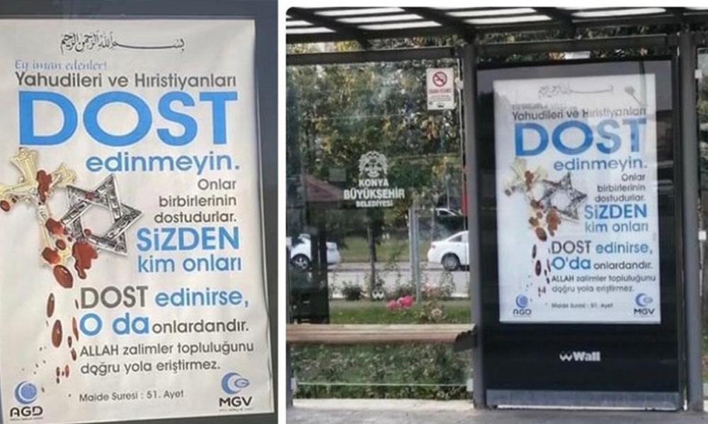 Konya'da duraklara 'nefret söylemi' içeren ilanlar asıldı