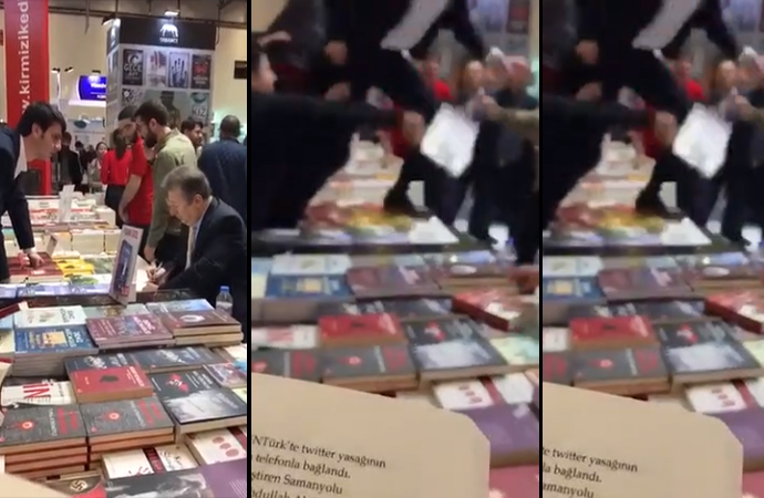 Sebahattin Önkibar'a yumruk… Ülkücüler kitap imzalatıp saldırdı