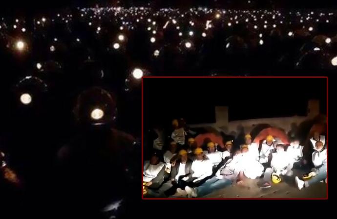 Ankara yolunda engellenen maden işçileri geceyi böyle geçirdi