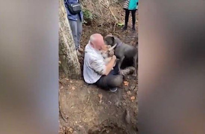 Kaybolan köpeğini bulan adam gözyaşlarına boğuldu…İşte o anlar