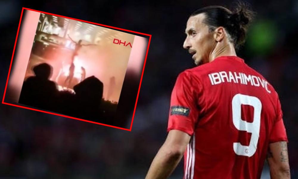Tepkiler dinmiyor! Zlatan Ibrahimovic'in heykelini yaktılar