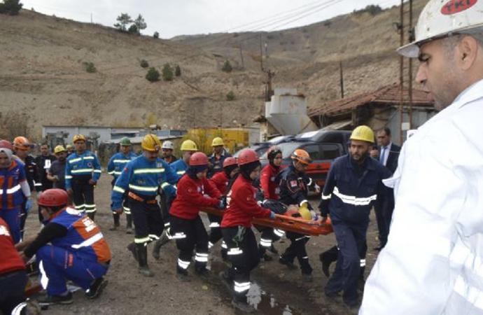 Kütahya'da maden ocağında 'göçük' tatbikatı