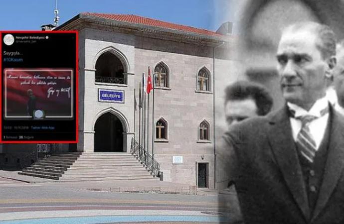 Bu kadarına da pes! AKP'li Nevşehir Belediyesi, 10 Kasım anmasında Atatürk yerine Erdoğan'ın fotoğrafını kullandı!