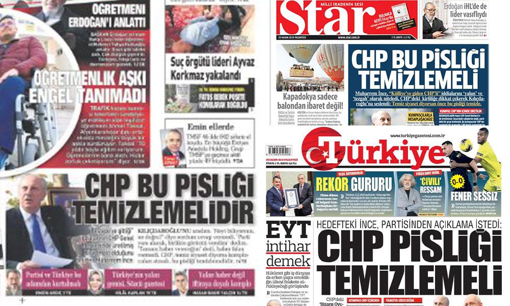 Başlık atılacak at… Saray medyasında CHP aynı başlıkla manşet oldu!