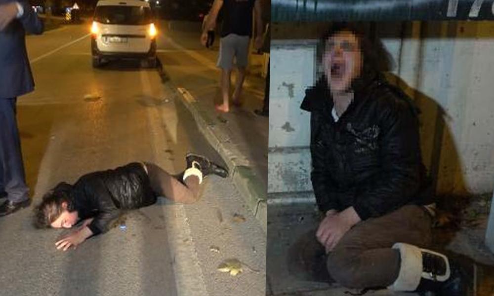 Genç kadını dövüp, araçtan attı!