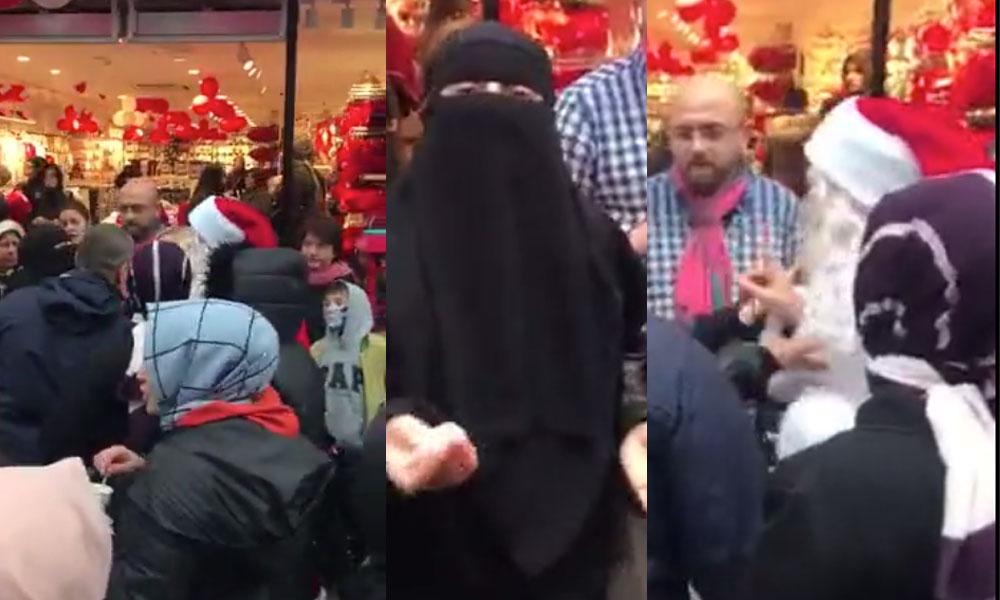 Çarşaflı kadın 'Müslüman ülkede Noel Baba'nın ne işi var' diyerek mağaza çalışanının üzerine yürüdü!