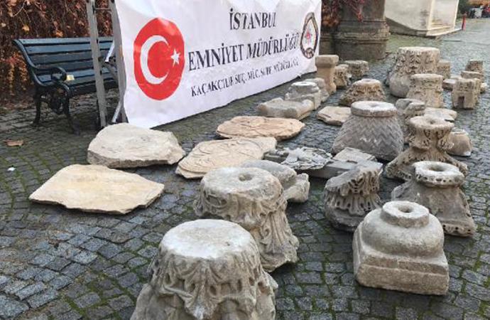 İstanbul'da tarihi eser operasyonu! Roma ve Bizans dönemi tarihi eserleri ele geçirildi