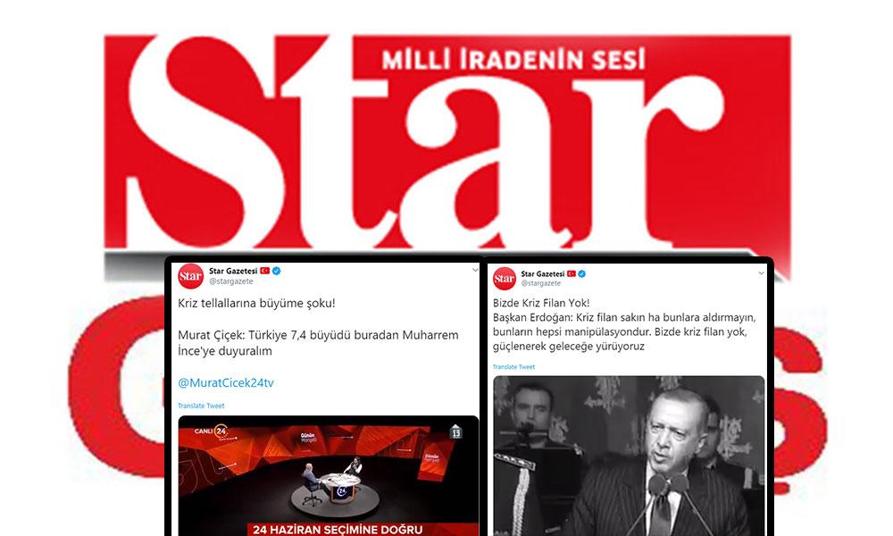 Star gazetesine 'bizde kriz yok büyüyoruz!' manşetlerini hatırlattılar
