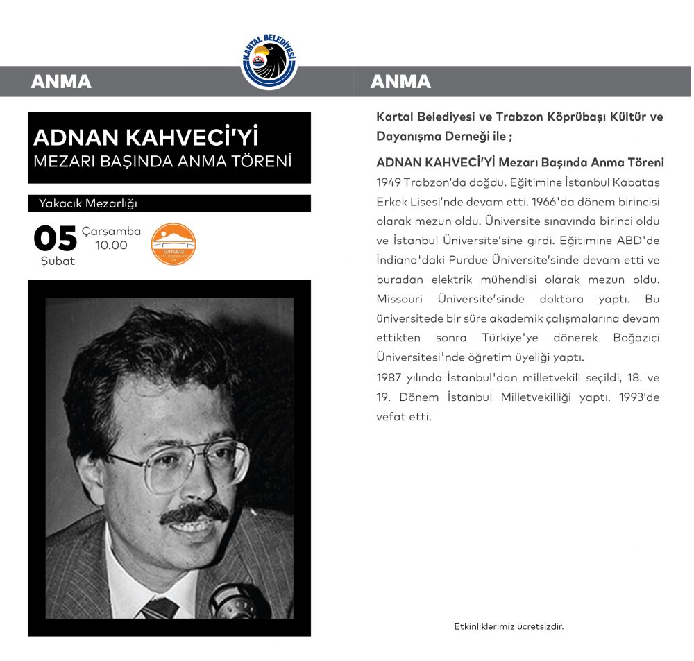 Adnan Kahveci, Vefatının 27. Yılında Kartal'daki Mezarı Başında Anılacak