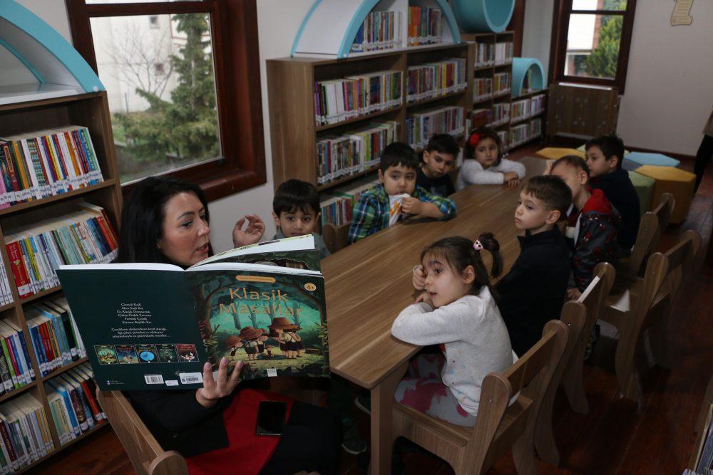 'Eğlenceli Çocuk Kütüphanesi' kapılarını ilk kez, kreş öğrencilerine açtı