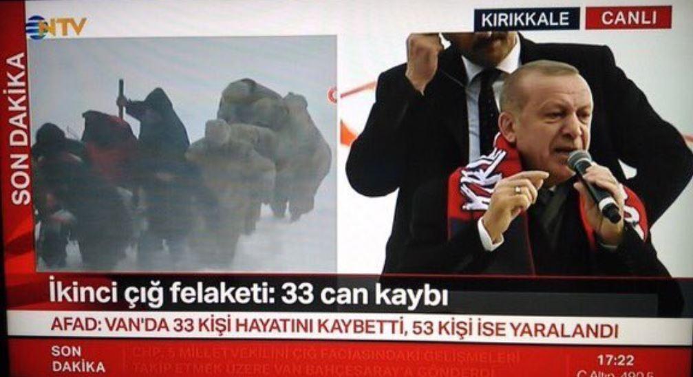 NTV'den yarım ekran 'çığ felaketi' yayını: Ekranın diğer yarısı Erdoğan'a rezerve