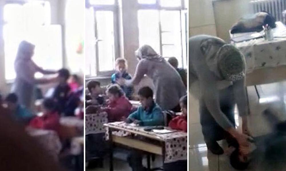 İlkokulda skandal… Sözleşmeli öğretmenin çocukları darp ettiği anlar kamerada!