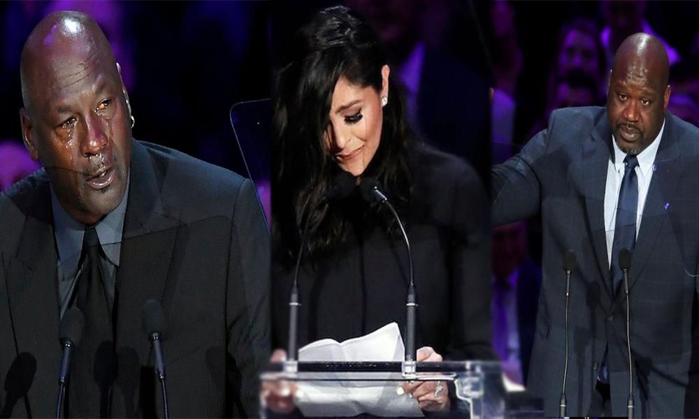 Kobe Bryant'ı anma töreni! Michael Jordan ve Vanessa Bryant gözyaşlarını tutamadı